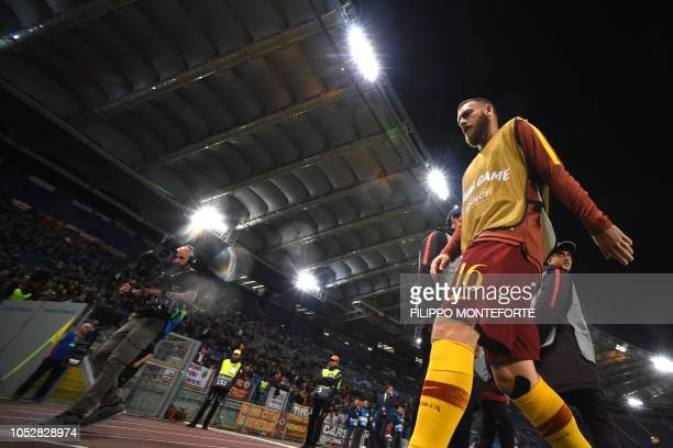 AS Roma Italian midfielder Daniele De Rossi is pictured prior to the UEFA Champions League group G stage football match AS Roma vs CSKA Moscow on...
