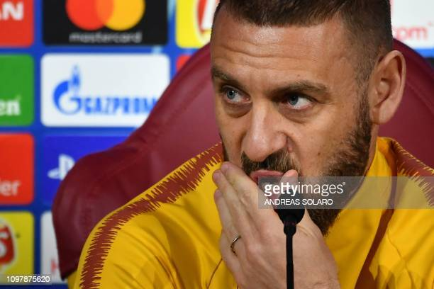 AS Roma Italian midfielder Daniele De Rossi ponders during a press conference on February 11 2019 at AS Roma's training ground in Trigoria south of...