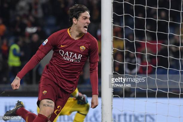 AS Roma Italian midfielder Nicolo Zaniolo celebrates after scoring an equalizer during the Italian Serie A football match AS Roma vs AC Milan on...
