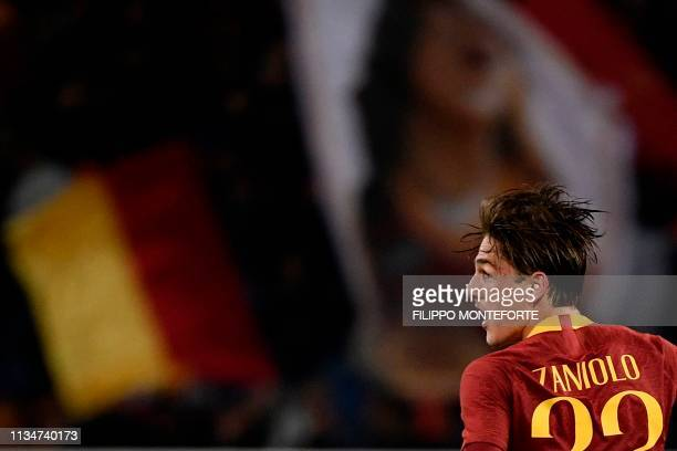 AS Roma Italian midfielder Nicolo Zaniolo celebrates after scoring an equalizer during the Italian Serie A football match AS Roma vs Fiorentina on...