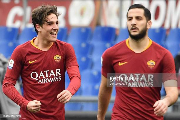 AS Roma Italian midfielder Nicolo Zaniolo celebrates next to AS Roma Greek defender Konstantinos Manolas after opening the scoring during the Italian...