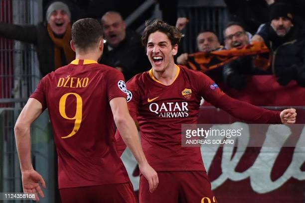 AS Roma Italian midfielder Nicolo Zaniolo celebrates with AS Roma Serbian defender Aleksandar Kolarov after he scored his second goal during the UEFA...