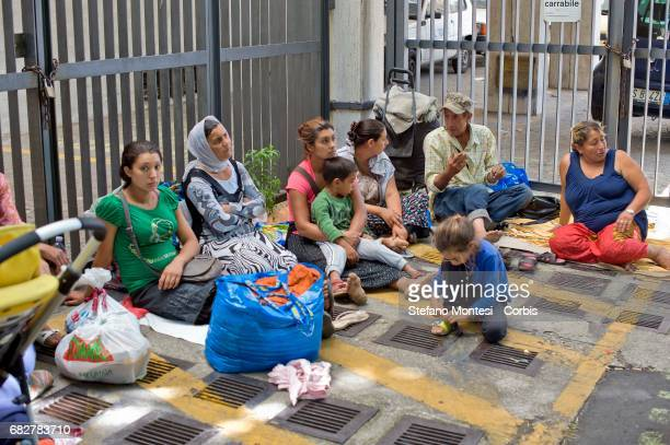 Roma left homeless wait at the social policies department to find a solution Eviction the Roma camp behind Val D'Ala railway station Monte Sacro...