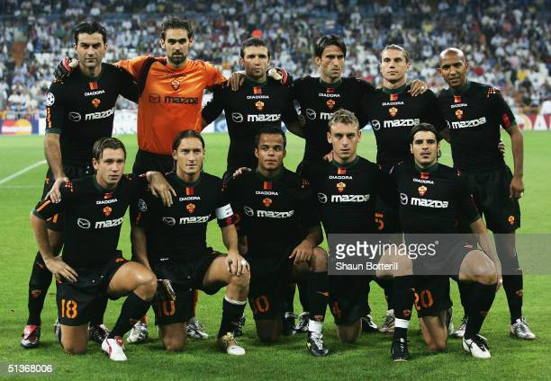 Roma line-up before the UEFA Champions League Group B match between Real Madrid and Roma at the Santiago Bernabeu Stadium on September 28, 2004 in...
