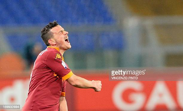 AS Roma midfielder Alessandro Florenzi celebrates scoring during the Italy's Cup semifinal football match AS Roma vs Inter on January 23 2013 at the...