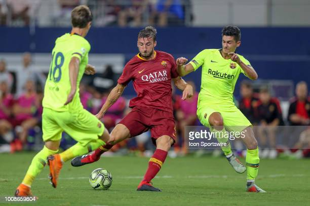 Roma midfielder Bryan Cristante shoots and scores a goal during the International Champions Cup between FC Barcelona and AS Roma on July 31 2018 at...