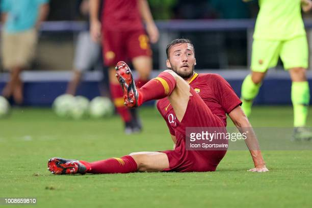 Roma midfielder Bryan Cristante watches his shot on goal during the International Champions Cup between FC Barcelona and AS Roma on July 31 2018 at...