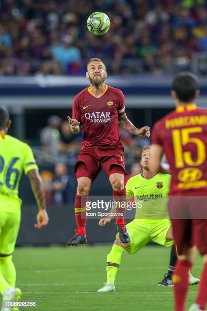 Roma midfielder Daniele De Rossi heads the ball during the International Champions Cup between FC Barcelona and AS Roma on July 31 2018 at ATT...