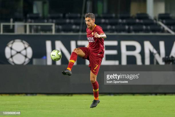 Roma midfielder Lorenzo Pellegrini brings the ball down during the International Champions Cup between FC Barcelona and AS Roma on July 31 2018 at...