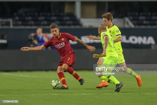 Roma midfielder Lorenzo Pellegrini controls the ball during the International Champions Cup between FC Barcelona and AS Roma on July 31 2018 at ATT...