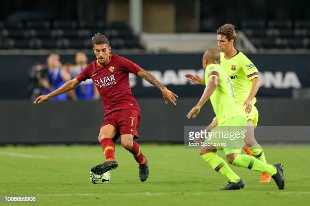 Roma midfielder Lorenzo Pellegrini handles the ball during the International Champions Cup between FC Barcelona and AS Roma on July 31 2018 at ATT...