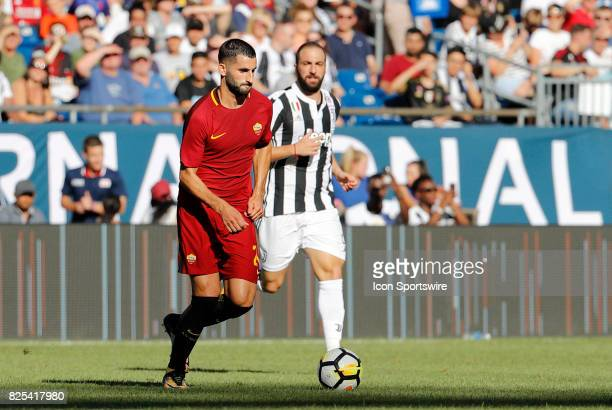 Roma midfielder Maxime Gonalons during an International Champions Cup match between AS Roma and Juventus on July 30 at Gillette Stadium in Foxborough...
