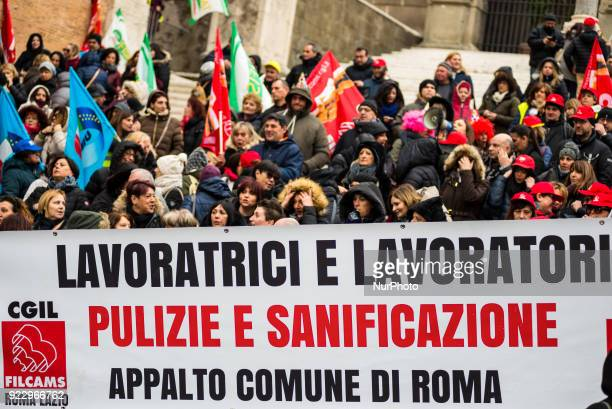 RMS Roma Multiservizi employees a semipublic company owned by Rome Municipality responsible for cleaning hygiene and maintenance of municipalitys...