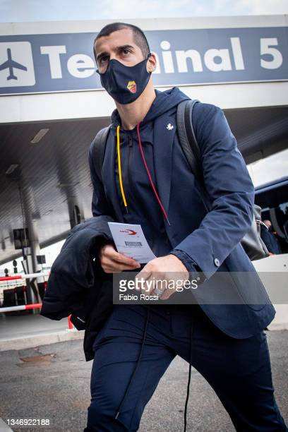 Roma player Henrikh Mkhitaryan travels to Turin on October 16, 2021 in Rome, Italy.