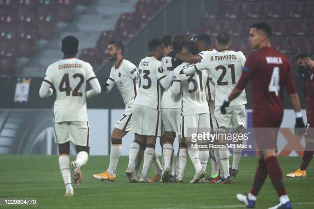 Roma players celebrate after a goal during the UEFA Europa League Group A stage match between CFR Cluj and AS Roma at Constantin Radulescu Stadium on...