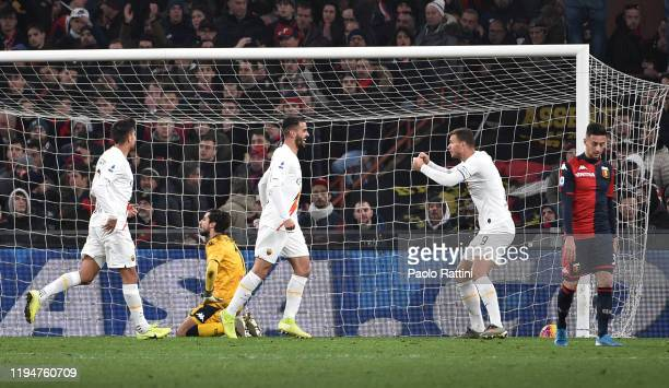 Roma players celebrate after Davide Biraschi of Genoa CFC own goal during the Serie A match between Genoa CFC and AS Roma at Stadio Luigi Ferraris on...