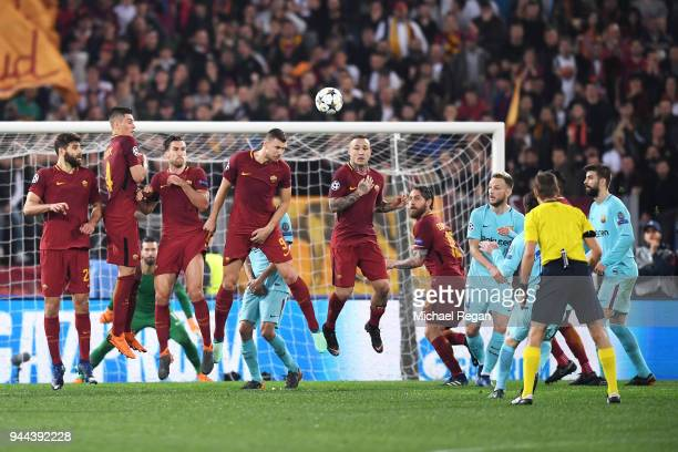 Roma players defend a free kick during the UEFA Champions League Quarter Final Second Leg match between AS Roma and FC Barcelona at Stadio Olimpico...