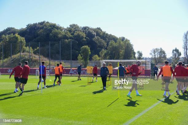 Roma players during a training session at Centro Sportivo Fulvio Bernardini on October 15, 2021 in Rome, Italy.