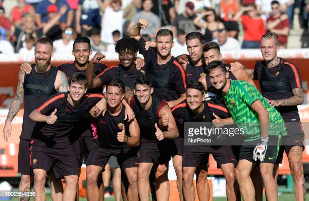 AS Roma players during training session open to the fans of AS Roma preseason retreat at Stadio Tre Fontane on july 19 2018 in Rome Italy