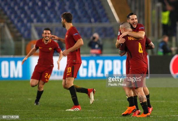 Roma players from left Alessandro Florenzi Federico Fazio Kostas Manolas and Radja Nainggolan celebrate at the end of the Uefa Champions League round...