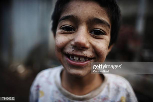 Roma refugee poses in the Cesmin Lug refugee camp in the Serbian district December 12 2007 in Kosovo province Serbia One hundred and fourtyfour...