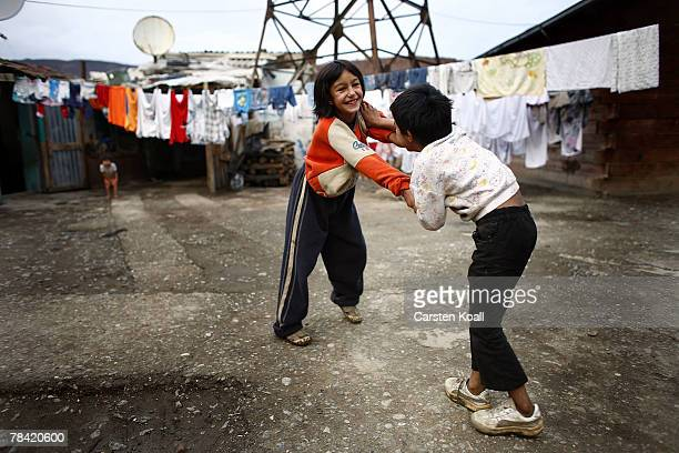 Roma refugees play in the Cesmin Lug refugee camp in the Serbian district December 12 2007 in Kosovo province Serbia One hundred and fourtyfour...