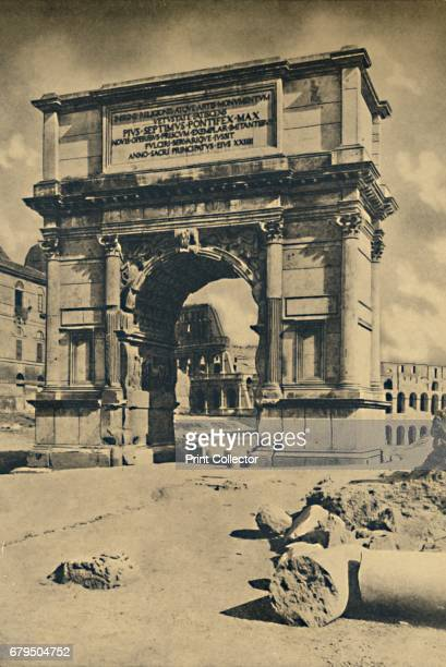 Roma Roman Forum Arch of Titus' 1910 Built in honour of his victory in the Judaic From Cento Vedute Classiche di Roma [Enrico Verdesi Rome 1910]...