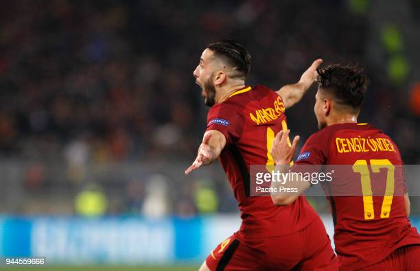 Roma s Kostas Manolas right celebrates with his teammate Cengiz Under after scoring during the Champions League quarter final second leg soccer match...