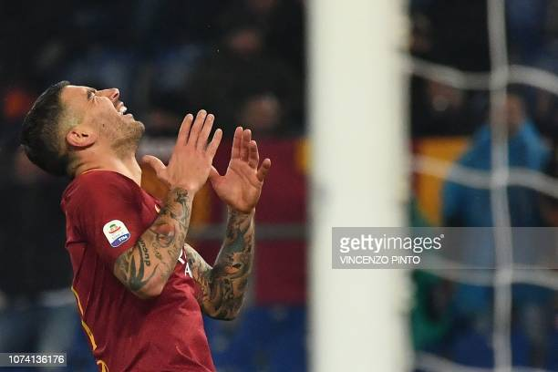 AS Roma Serbian defender Aleksandar Kolarov reacts after missing a shot during the Italian Serie A football match AS Roma vs Genoa on December 16...