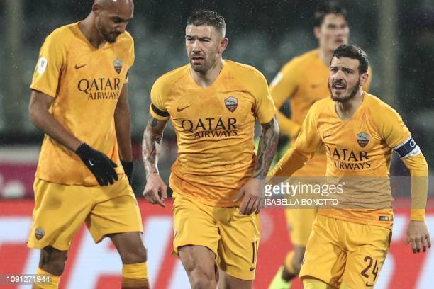 AS Roma Serbian defender Aleksandar Kolarov reacts after scoring during the Italian Tim Cup round of eight football match Fiorentina vs AS Roma on...