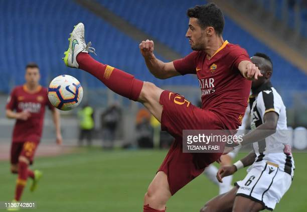 AS Roma Spanish defender Ivan Marcano clears the ball during the Italian Serie A football match AS Roma vs Udinese on April 13 2019 at the Olympic...