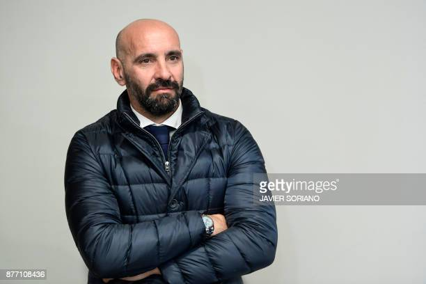 Roma sporting director Monchi listens during a press conference at the Wanda Metropolitan stadium in Madrid on November 21 2017 on the eve of the...