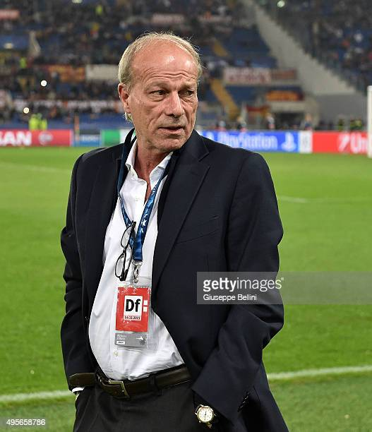 Roma Sporting Director Walter Sabatini before the UEFA Champions League Group E match between AS Roma and Bayer 04 Leverkusen at Olimpico Stadium on...