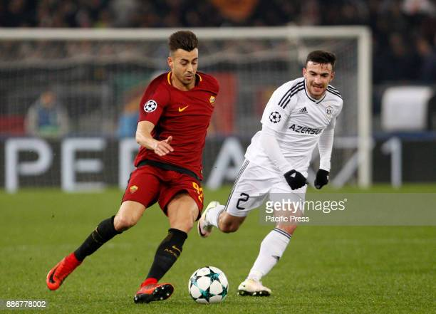 Roma Stephan El Shaarawy left is challenged by Qarabag Gara Garayev during the Champions League Group C soccer match between Roma and Qarabag at the...