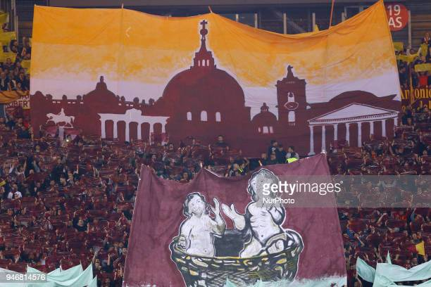 Roma supporters choreography during the serie A match between SS Lazio and AS Roma at Stadio Olimpico on April 15 2018 in Rome Italy