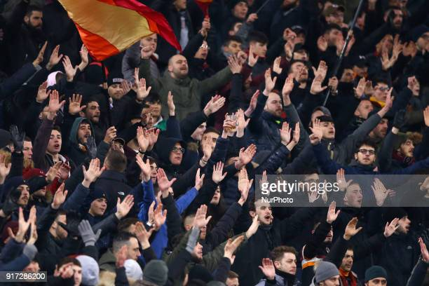 Roma supporters during the serie A match between AS Roma and Benevento Calcio at Stadio Olimpico on February 11 2018 in Rome Italy