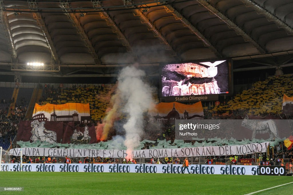 Roma supporters during the Serie A match between Lazio and Roma at Olympic Stadium, Roma, Italy on 15 April 2018.