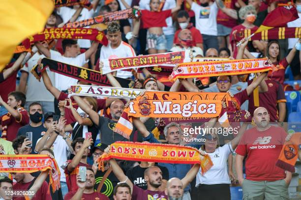Roma supporters on the stands during the UEFA Conference League Play-Offs Second Leg match between Trabzonspor and AS Roma at Stadio Olimpico, Rome,...