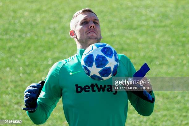 AS Roma Swedish goalkeeper Robin Olsen chest controls the ball during a training session on the eve of the UEFA Champions League group G football...