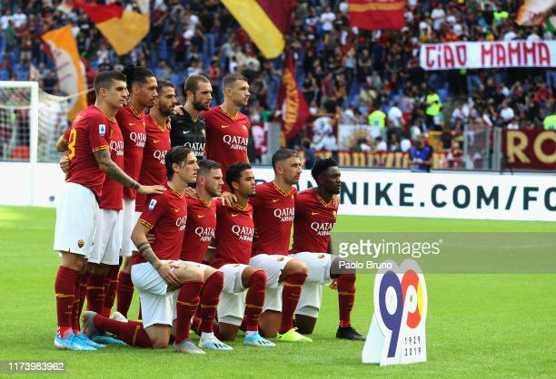 Roma team poses during the Serie A match between AS Roma and Cagliari Calcio at Stadio Olimpico on October 6 2019 in Rome Italy