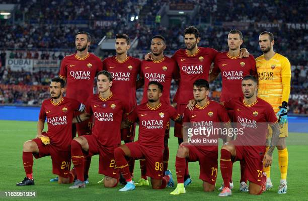 Roma team poses during the Serie A match between AS Roma and Genoa CFC at Stadio Olimpico on August 25 2019 in Rome Italy