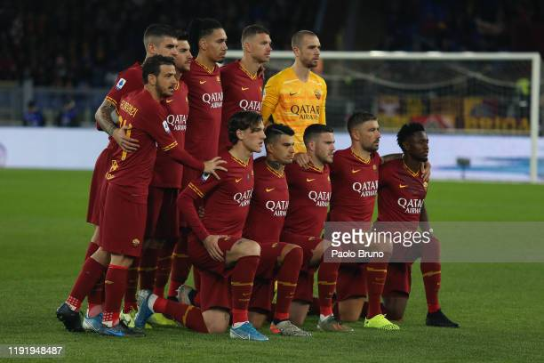 Roma team poses during the Serie A match between AS Roma and Torino FC at Stadio Olimpico on January 5 2020 in Rome Italy