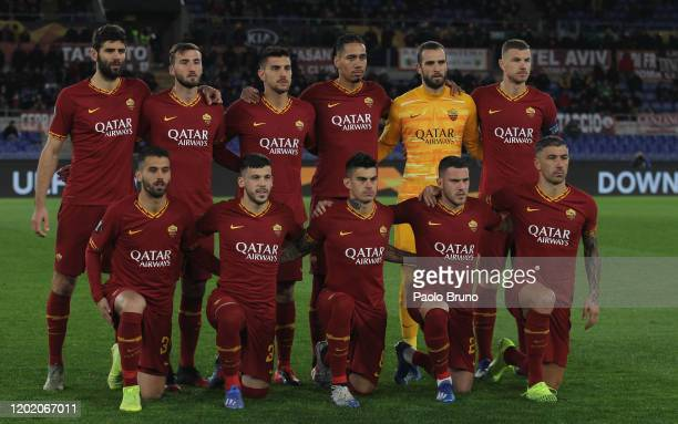 Roma team poses during the UEFA Europa League Round of 32 first leg match between AS Roma and KAA Gent at Stadio Olimpico on February 20 2020 in Rome...