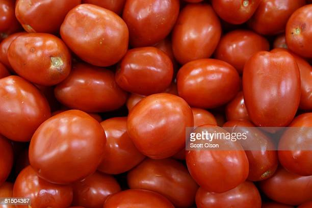 Roma tomatoes are offered for sale at a produce store June 9 2008 in Chicago Illinois Tomatoes are suspected to be responsible for salmonella related...
