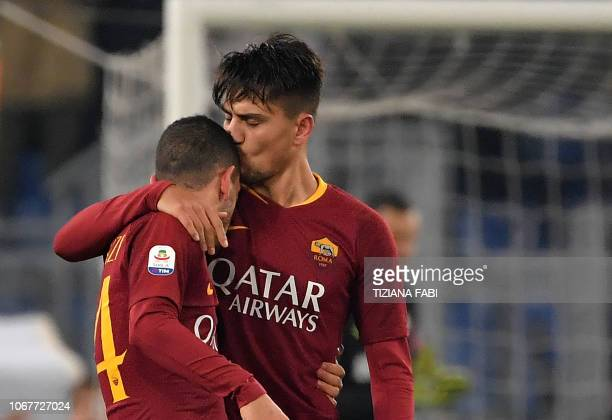 AS Roma Turkish forward Cengiz Under celebrates after scoring a goal during the Italian Serie A football match between AS Roma and Inter Milan at the...