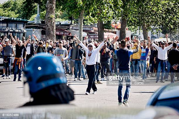 Roma Ultras in front the police before the derby the Serie A match between SS Lazio and AS Roma at near the Olympic stadium game won by on AS Roma on...