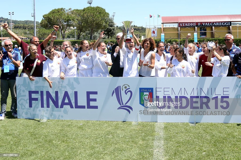 AS Roma under 17 celebrate their victory after the 9th Grassroots Festival at Coverciano on June 18, 2017 in Florence, Italy.