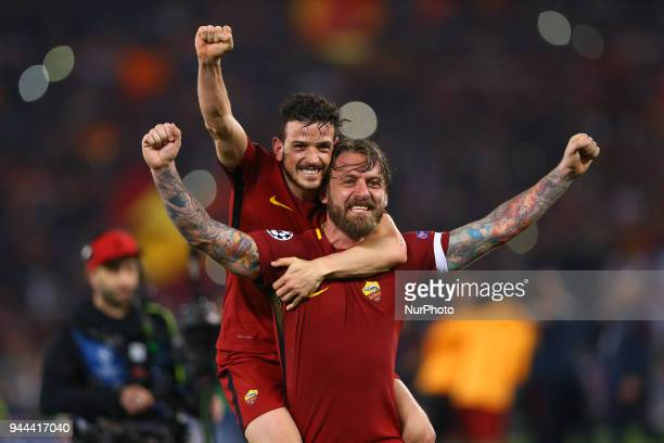 UEFA Champions League quarterfinals 2nd leg Alessandro Florenzi and Daniele De Rossi of Roma celebrate at Olimpico Stadium in Rome Italy on April 10...