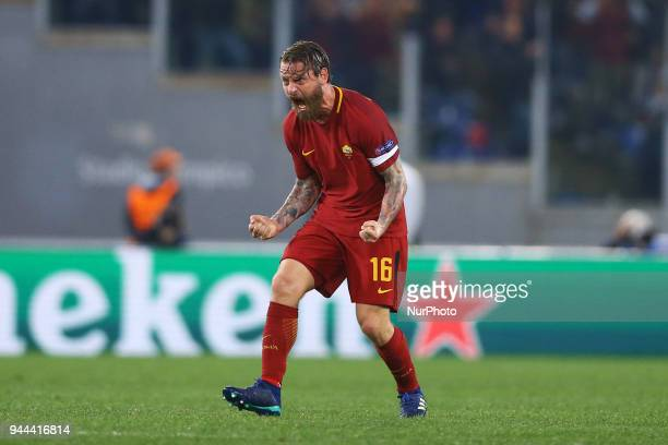 UEFA Champions League quarterfinals 2nd leg Daniele De Rossi of Roma celebration at Olimpico Stadium in Rome Italy on April 10 2018