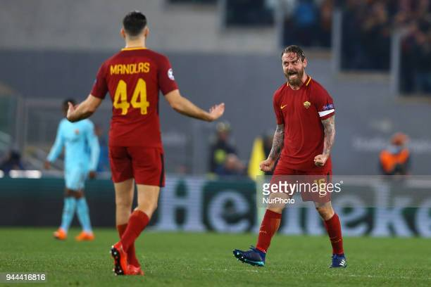 Roma v FC Barcelona : UEFA Champions League quarter-finals 2nd leg Daniele De Rossi of Roma celebration at Olimpico Stadium in Rome, Italy on April...